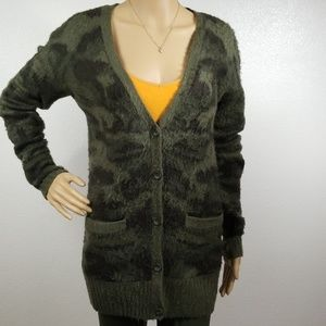 Oversized Army Green Kashmere Cardigan I5